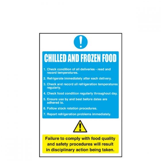 Chilled and Frozen Food Sign 200 x 300mm