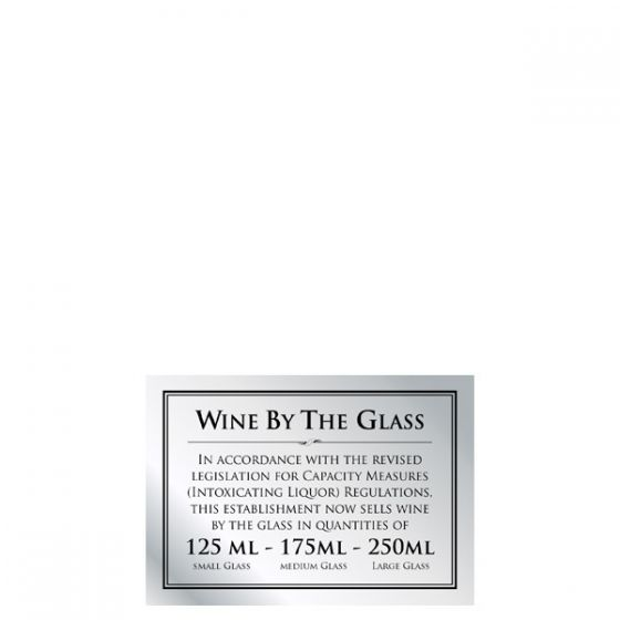 Brushed Silver Bar Signage Wine By The Glass 125ml - 175ml - 250ml  148 x 210mm