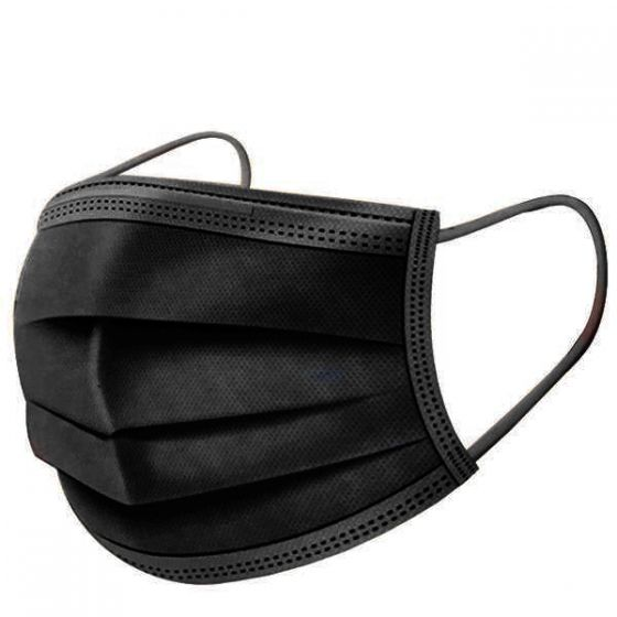Black Three Ply Earloop Disposable Face Mask