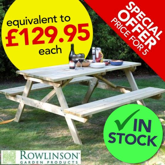 *Special Offer* 5x Wooden Picnic Bench 5ft / 1.5m
