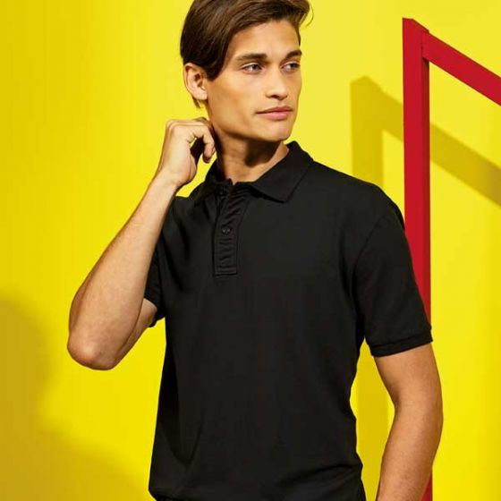 Mens Polo Shirt Black Ringspun Combed Cotton Small 37