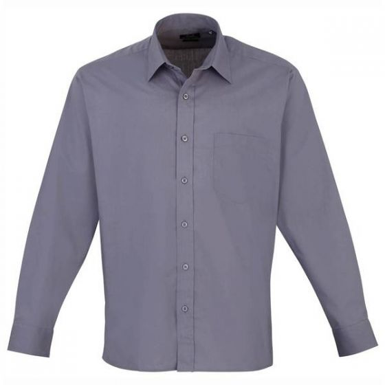 Mens Steel Long Sleeved Poplin Shirt 17