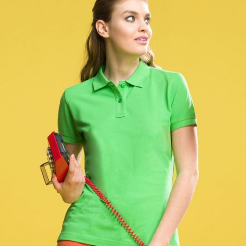 Women's Polo Shirt Lime Green Ringspun Combed Cotton XL 43