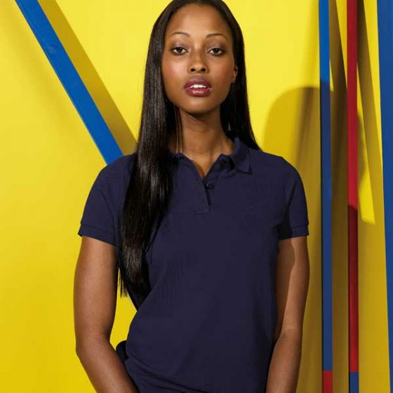 Womens Polo Shirt Navy Blue Ringspun Combed Cotton Large 39