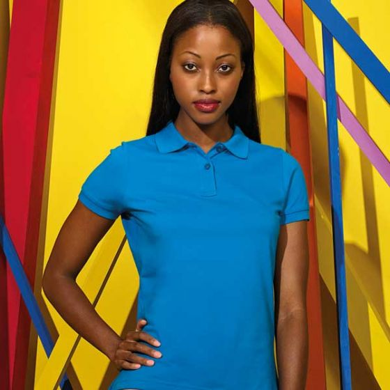 Womens Polo Shirt Sapphire Ringspun Combed Cotton Small 35
