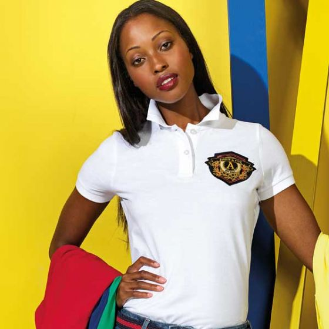 Women's Polo Shirt White Ringspun Combed Cotton Medium 37