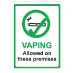 Vaping Allowed On These Premises Self Adhesive Sign 200x150mm