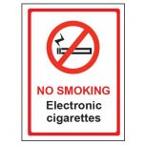 No Smoking Electronic Cigarettes Window Notice 150 x 200mm
