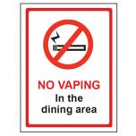 No Vaping In The Dining Area Self Adhesive Sign 200x150mm