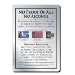 Brushed Silver Bar Signage No Proof of Age No Alcohol  297 x 210mm