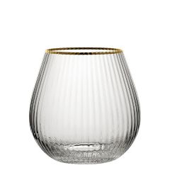 Hayworth Ribbed Stemless Gin Glass with Gold Rim 22oz / 65cl