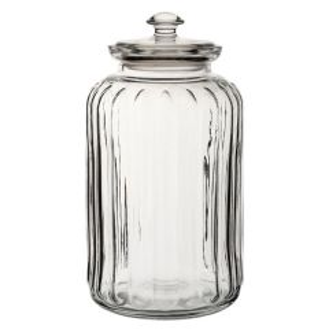Viva Ribbed Glass Storage Jar 88oz / 2.5Ltr