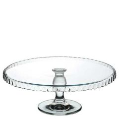 """Glass Patisserie Downturned Edged Footed Plate 12.5"""" / 32cm Diameter"""