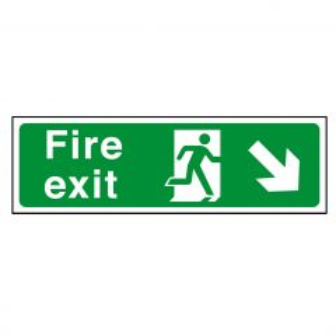 Green Fire Exit Arrow Right Down Flexible Plastic Sign 15x45cm