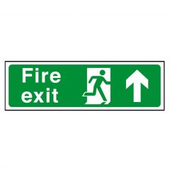 Green Fire Exit Arrow Up / Straight On Flexible Plastic Sign 15x45cm