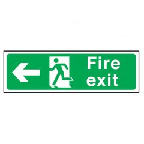 Green Fire Exit Arrow Left Flexible Plastic Sign 15x45cm