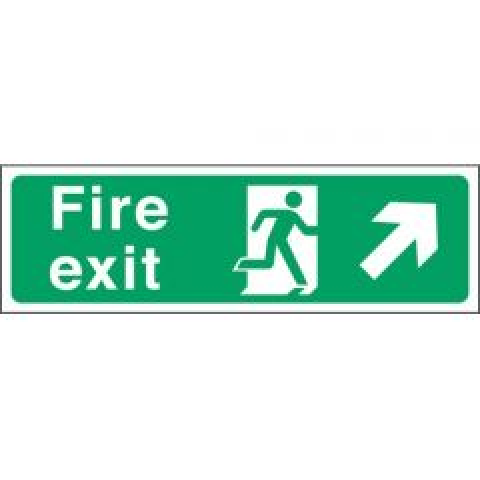 Green Fire Exit Arrow Right Up Sticker 15x45cm
