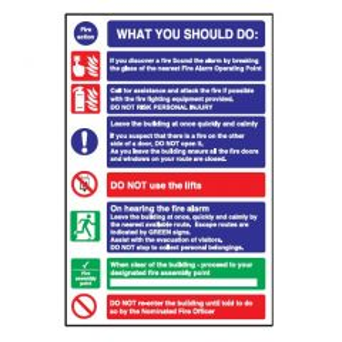 Fire 'What You Should Do' Flexible Plastic Sign 30x20cm