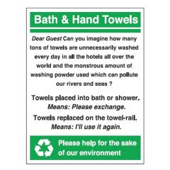 Towel Reuse Environmental Stickers 120x100mm