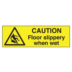Yellow Caution Floor Slippery When Wet Stickers 35x100mm