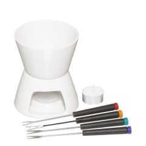 White Ceramic Fondue Set