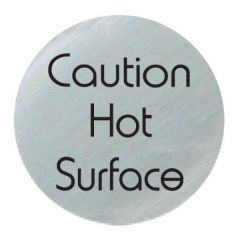 Satin Silver 'Caution Hot Surface' Disc 75mm
