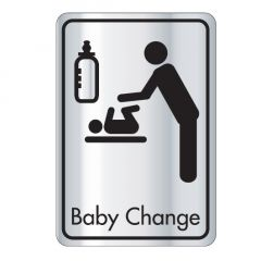Self Adhesive (Symbol) Baby Changing Door Sign Black on Silver 128x83mm