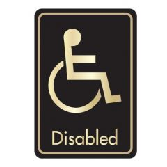 Self Adhesive (Symbol) Disabled Door Sign Gold on Black 128x83mm