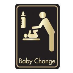 Self Adhesive (Symbol) Baby Changing Door Sign Gold on Black 128x83mm