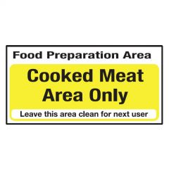 Yellow Cooked Meat Area Only Sticker 10x20cm