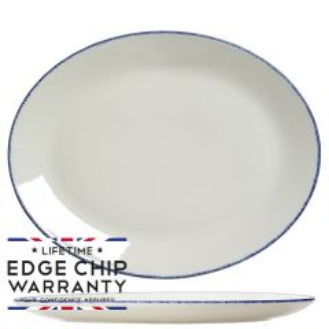 "Steelite Blue Dapple Oval Coupe Plate 13.5"" / 34.2cm"