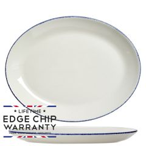 "Steelite Blue Dapple Oval Coupe Plate 12"" / 30cm"