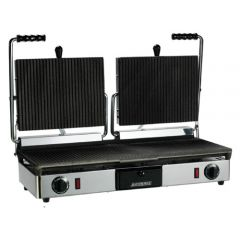 Maestrowave Double Ribbed Non Stick Panini Contact Grill 630x380x460mm