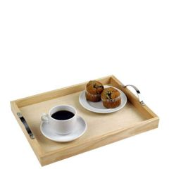 """Rubberwood Serving Tray With Handles 12x16x2.6"""" / 30x40x6.5cm"""