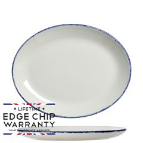 "Steelite Blue Dapple Oval Coupe Plate 8"" / 20.2cm"
