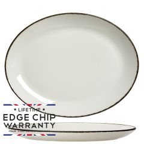 "Steelite Charcoal Dapple Oval Coupe Plate 12"" / 30cm"