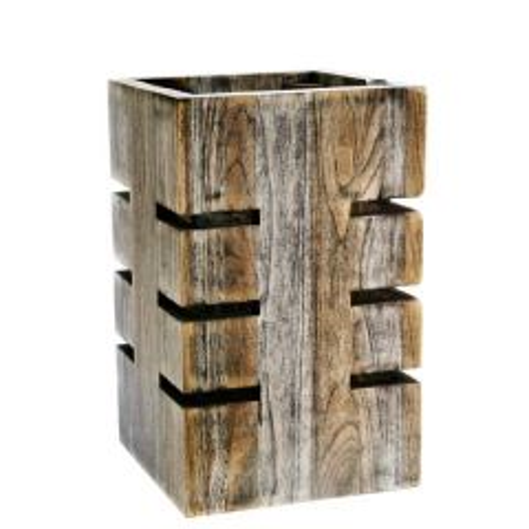"D.W. Haber Fusion Ash Grey Teak Wooden Buffet Riser 6x6x12"" / 15.2x15.2x30.5cm"