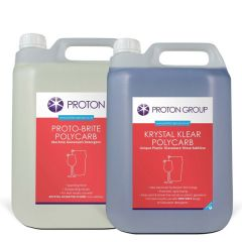 Pro-Brite 1x Polycarbonate Detergent & 1x Krystal Klear Poly Rinse Aid 2x5Ltr Pack