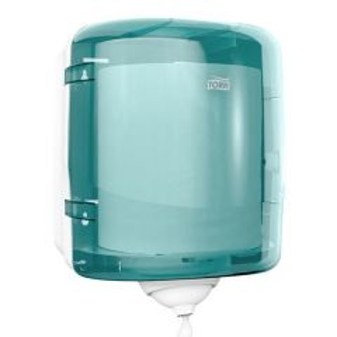 Turquoise and White Plastic Dispenser for Tork M4 Reflex Centrefeed Roll