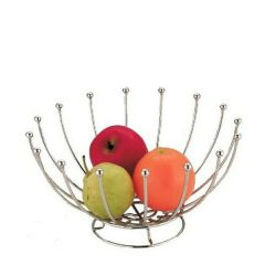 Roma Chrome Wire Round Fruit Basket with Base 25cm Diameter / 14cm Tall