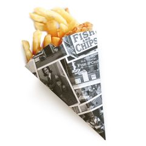 "Disposable Retro Newsprint Chip Cone 6x7"" / 15x17.6cm"