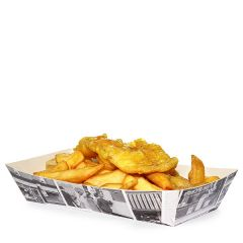 "Disposable Retro Newsprint Fish & Chip Large Tray 9.75x4.25x1.75"" / 24.5x10.5x4.5cm"
