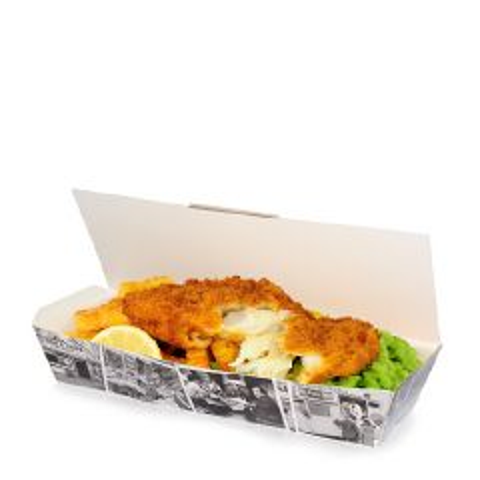 "Disposable Retro Newsprint Fish & Chip Standard Box 8.75x3.75x2.5"" / 22x9.5x6.2cm"
