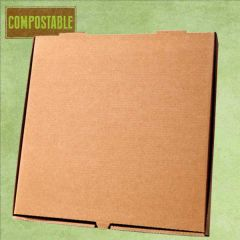 """Compostable Plain Brown Cardboard Pizza Delivery Box 16"""" / 40cm"""