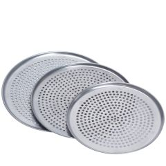 """Aluminium Coupe Style Thin Crust Perforated Pizza Pan 14"""" / 35cm"""