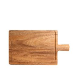 Acacia Wood Serving Board with Groove & Handle 310x180x15mm