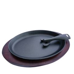 """Cast Iron Sizzle Platter with Wooden Base 9.8x6"""" / 25x16cm"""