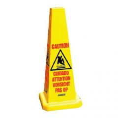 Yellow Multi-lingual 4-Sided Safety Cone 91x32cm