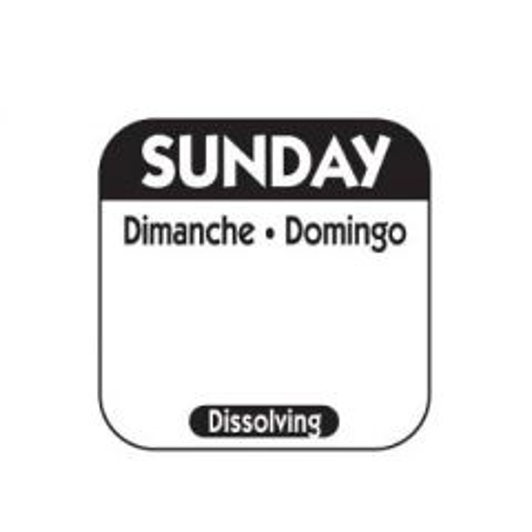 "Sunday Trilingual Dissolving Food Rotation Label 1x1""/25x25mm"