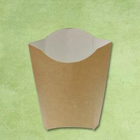 "Disposable Kraft Large Chip Scoop 3.5x1.6x6"" / 9x4x15cm"